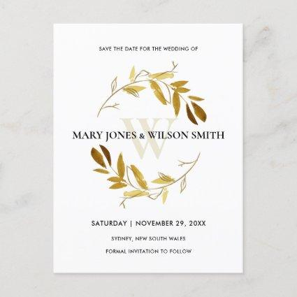 YELLOW GOLD WATERCOLOR FAUNA WREATH SAVE THE DATE ANNOUNCEMENT