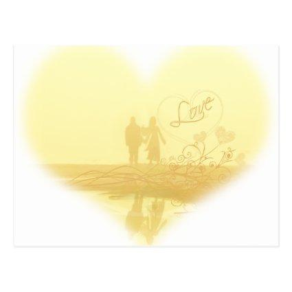 Yellow Heart Beach Wedding Cards