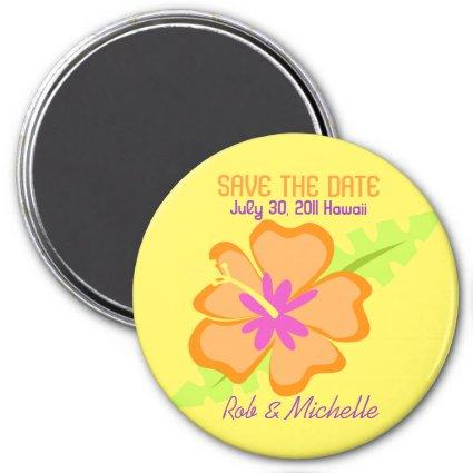 Yellow Hibiscus Flower Custom Magnets Favor