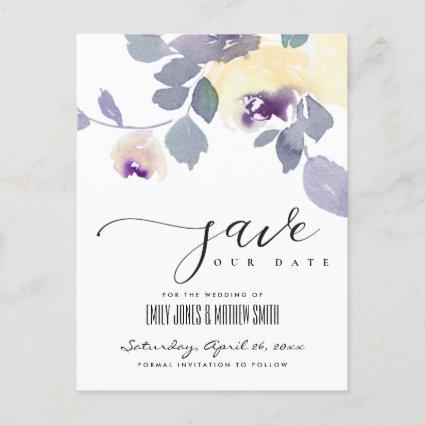 YELLOW LILAC ROSE WATERCOLOR FLORAL SAVE THE DATE ANNOUNCEMENT