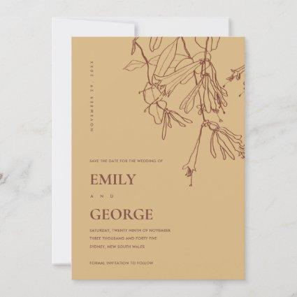 YELLOW OCHRE LINE DRAWING FLORA SAVE THE DATE CARD