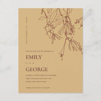 YELLOW OCHRE LINE DRAWING FLORAL SAVE THE DATE ANNOUNCEMENT