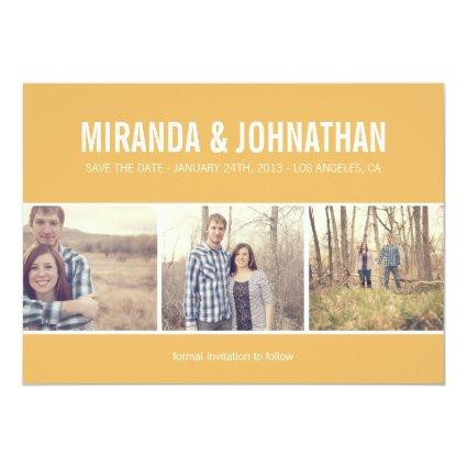 Yellow Photo Strip Save The Date Announcements