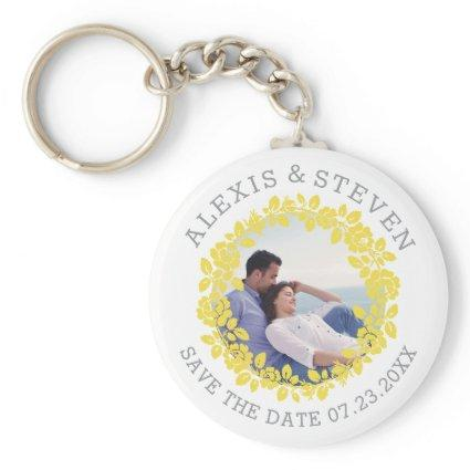 Yellow rose wreath floral Save the Date photo Keychain