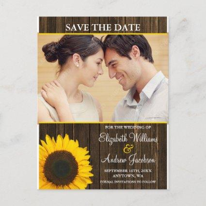 Yellow Sunflower Barn Wood Photo Save the Date Announcement
