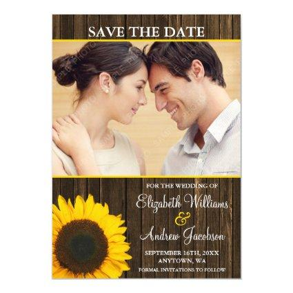 Yellow Sunflower Barn Wood Photo Save the Date Magnetic Invitation