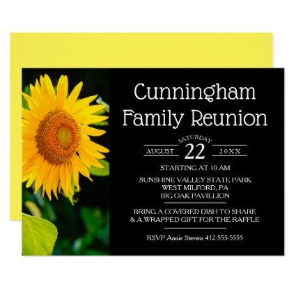 Yellow Sunflower Family Reunion Invitation