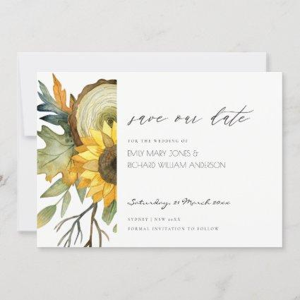 YELLOW SUNFLOWER FLORAL SAVE THE DATE CARD