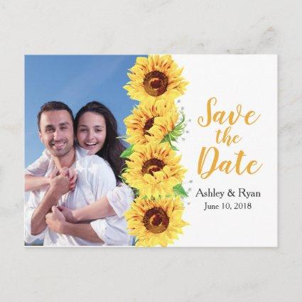 Yellow Sunflower Photo Wedding Save the Date Announcement