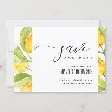 YELLOW WATERCOLOUR FOLIAGE OLIVE SAVE THE DATE