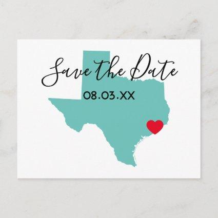 Your Colors Texas Map Shape Save the Date Announcement