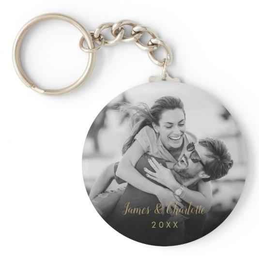Your Favorite Couple Black and White Photo Gold Keychain
