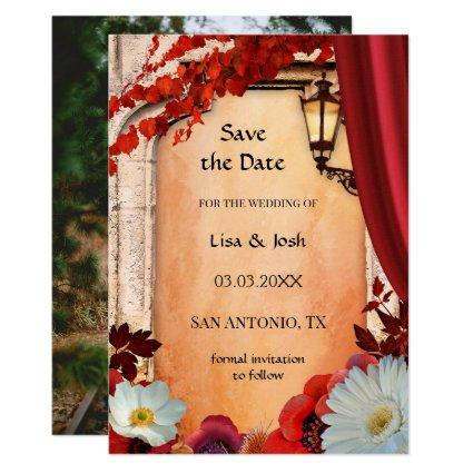 Your Photo Classic Floral Fall Save the Date Card
