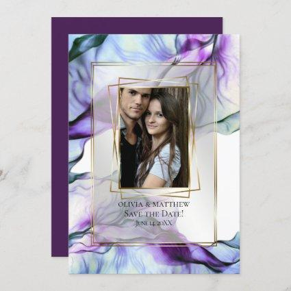 Your Photo Frame Abstract Plum Abstract Invitation