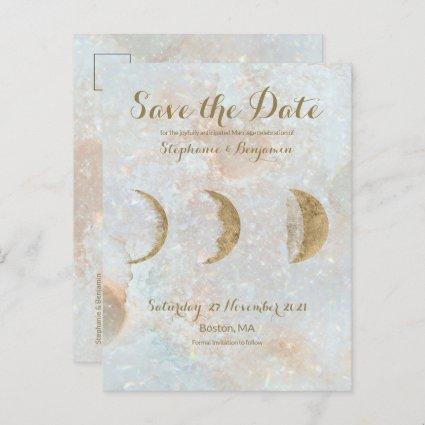 Zodiac Moon Ice Blue Celestial Gold Save the Date Announcement